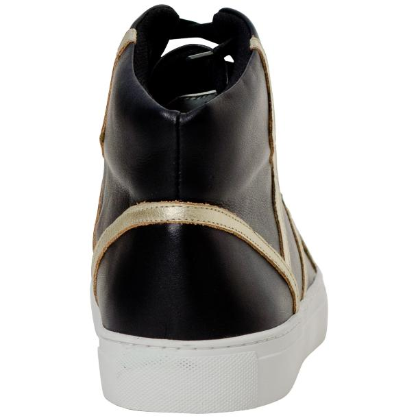 Betty Black and Gold Design Patent Leather High Top Sneakers thumb #5