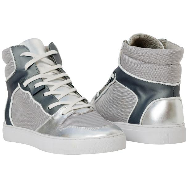 Fillmore Classic Silver Two Tone Leather High Top Sneakers full-size #1