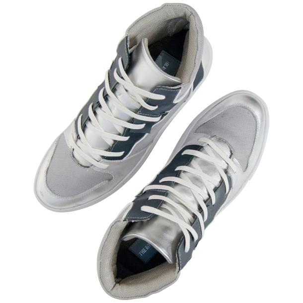 Fillmore Classic Silver Two Tone Leather High Top Sneakers thumb #2