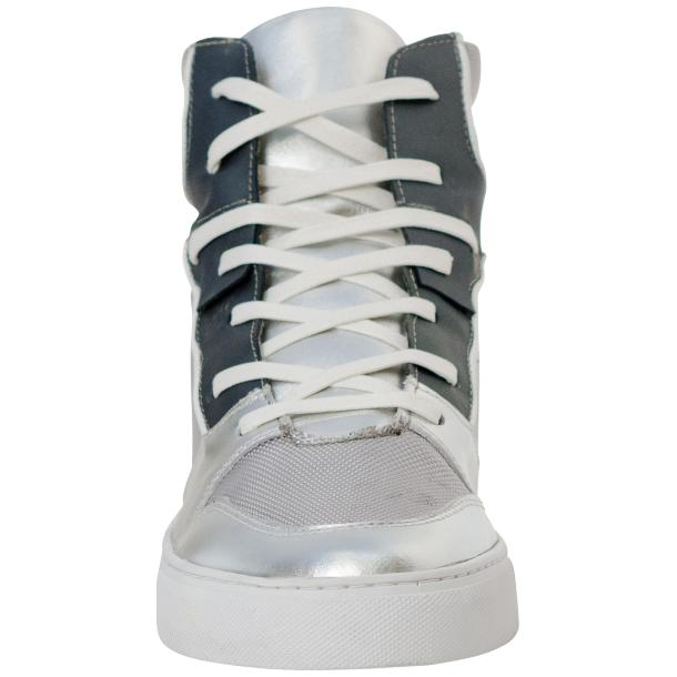 Fillmore Classic Silver Two Tone Leather High Top Sneakers thumb #3