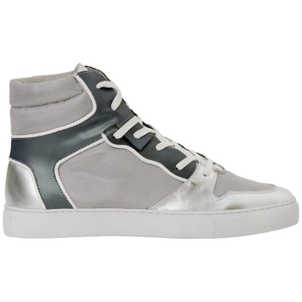 Fillmore Classic Silver Two Tone Leather High Top Sneakers thumb #4