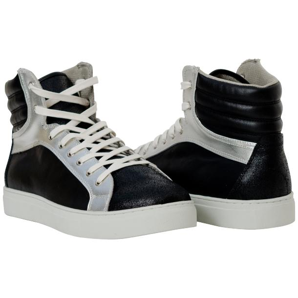 Shannon Jet Black Two Tone Nappa Leather High Top Sneakers full-size #1