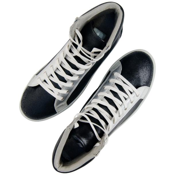 Shannon Jet Black Two Tone Nappa Leather High Top Sneakers thumb #2