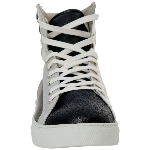 Dante Jet Black Silver Nappa Leather High Top Sneakers thumb #3
