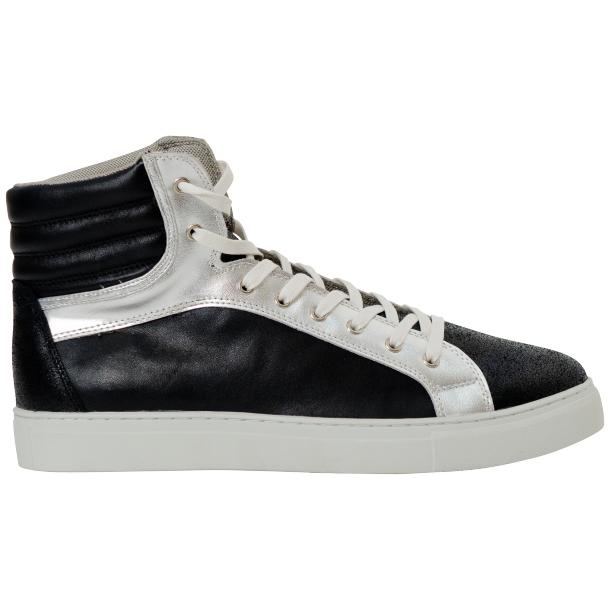 Dante Jet Black Silver Nappa Leather High Top Sneakers thumb #4