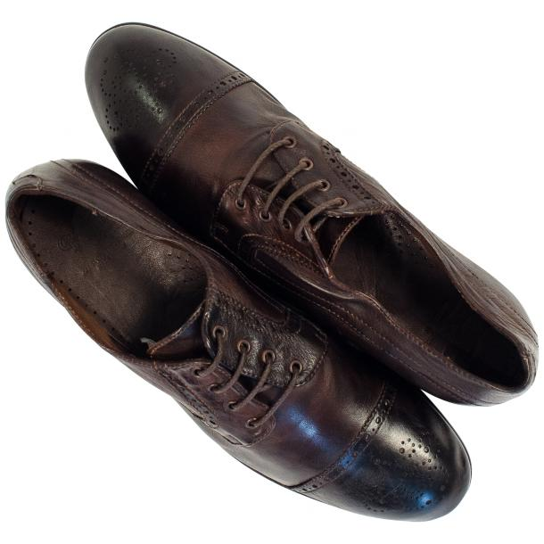 Cindy Dip Dyed Dark Brown Leather Oxford Shoes thumb #2
