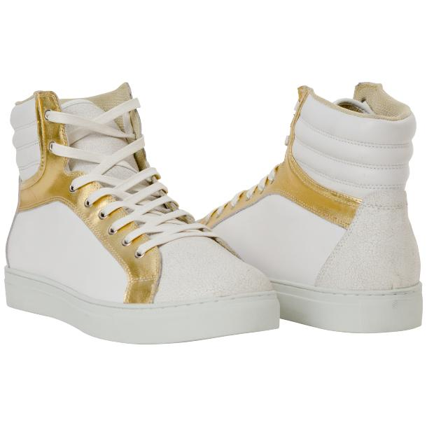 Dante White Two Tone Nappa Leather High Top Sneakers full-size #1