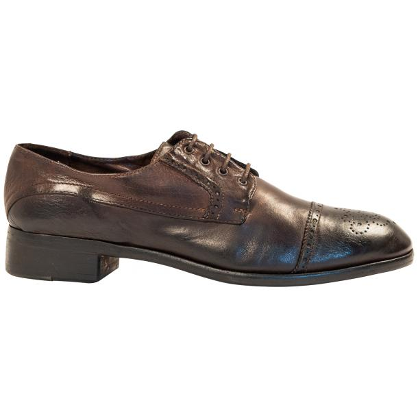 Cindy Dip Dyed Dark Brown Leather Oxford Shoes thumb #4