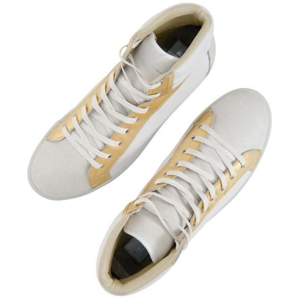Dante White Two Tone Nappa Leather High Top Sneakers thumb #2