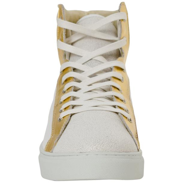 Dante White Two Tone Nappa Leather High Top Sneakers thumb #3