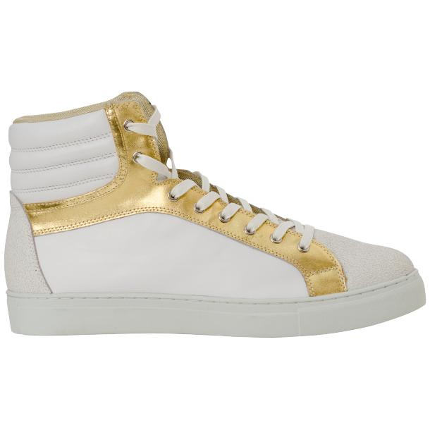 Dante White Two Tone Nappa Leather High Top Sneakers thumb #4