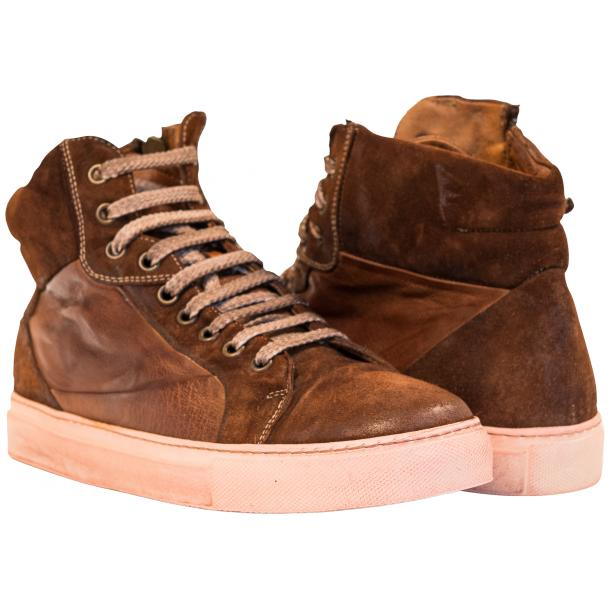 Angelique  Dip Dyed Brown Leather and Suede High Top Sneaker full-size #1