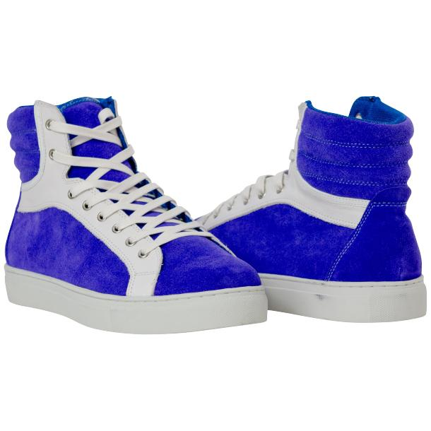 Dante Royal Blue Two Tone Suede High Top Sneakers thumb #1