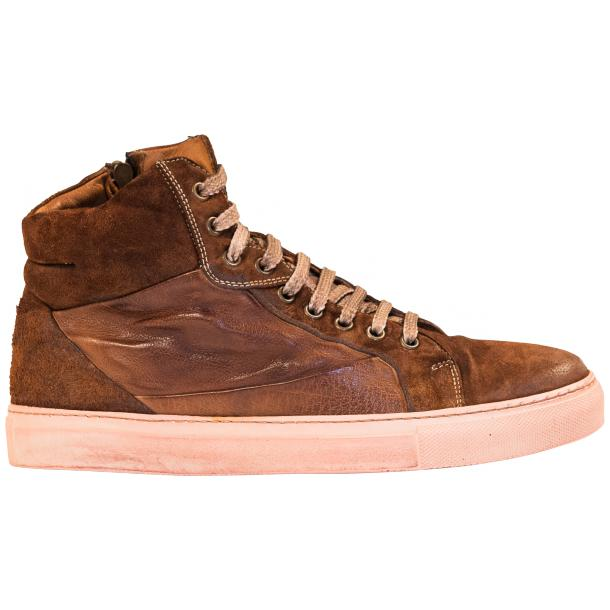 Angelique  Dip Dyed Brown Leather and Suede High Top Sneaker thumb #4