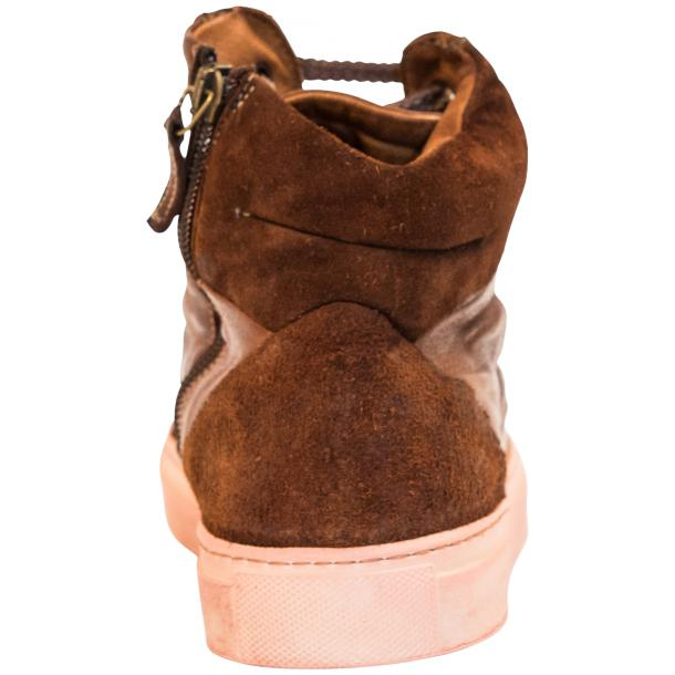Angelique  Dip Dyed Brown Leather and Suede High Top Sneaker thumb #5
