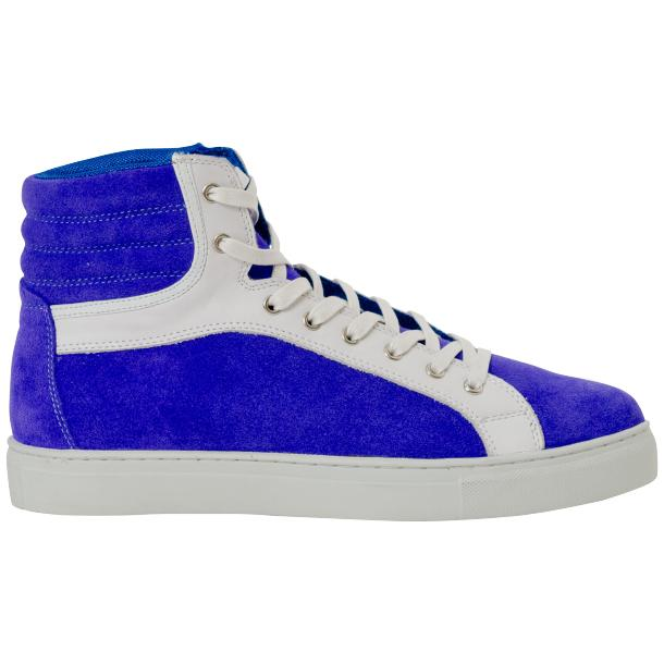 Dante Royal Blue Two Tone Suede High Top Sneakers thumb #4