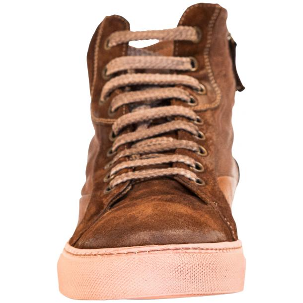Angelique  Dip Dyed Brown Leather and Suede High Top Sneaker thumb #3