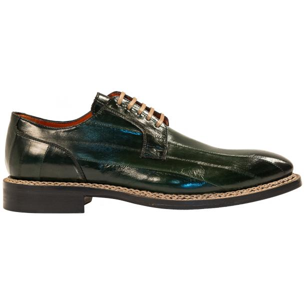 "Terry Dark Green ""Verde"" Eel Skin Laced Up Dress Shoes thumb #4"