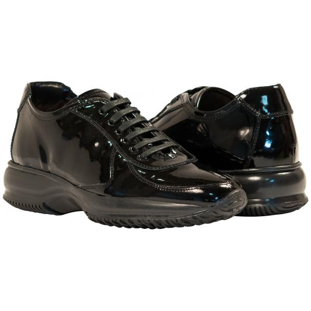 Misha Black Patent Leather Rubber Sole Sneaker Shoes full-size #1