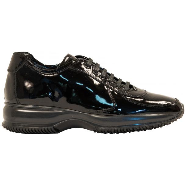 Pressley Black Patent Leather Rubber Sole Sneaker Shoes thumb #4