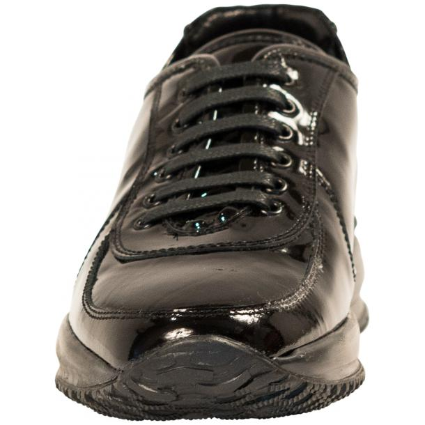 Pressley Black Patent Leather Rubber Sole Sneaker Shoes thumb #3