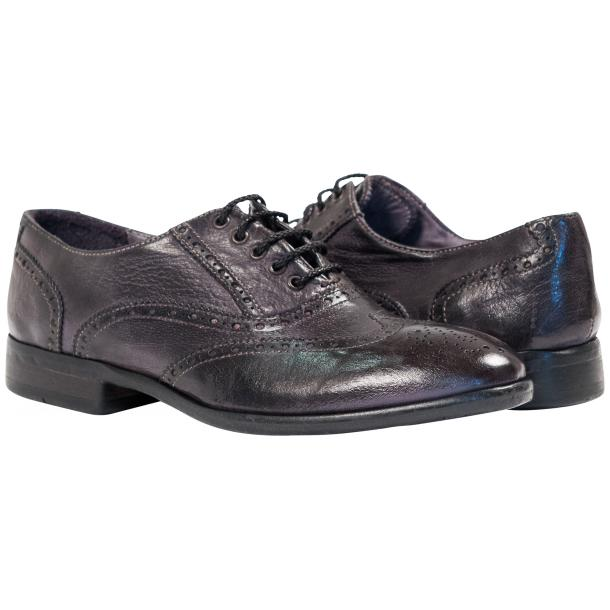 Ashley Dip Dyed Stone Grey Leather Oxford Lace Up Wing Tips full-size #1