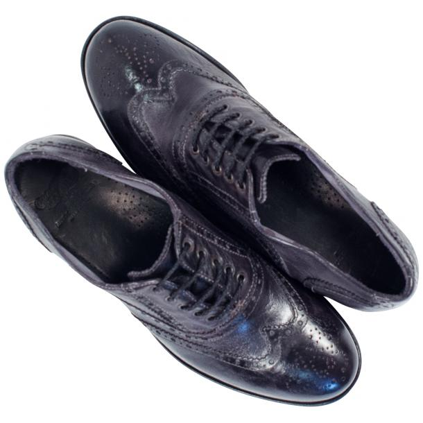 Ashley Dip Dyed Stone Grey Leather Oxford Lace Up Wing Tips thumb #2