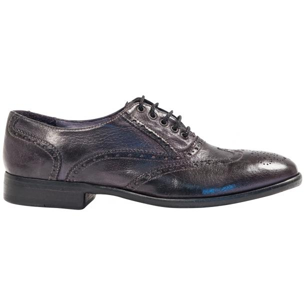 Ashley Dip Dyed Stone Grey Leather Oxford Lace Up Wing Tips thumb #4