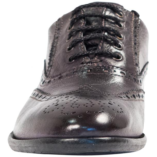 Ashley Dip Dyed Stone Grey Leather Oxford Lace Up Wing Tips thumb #3