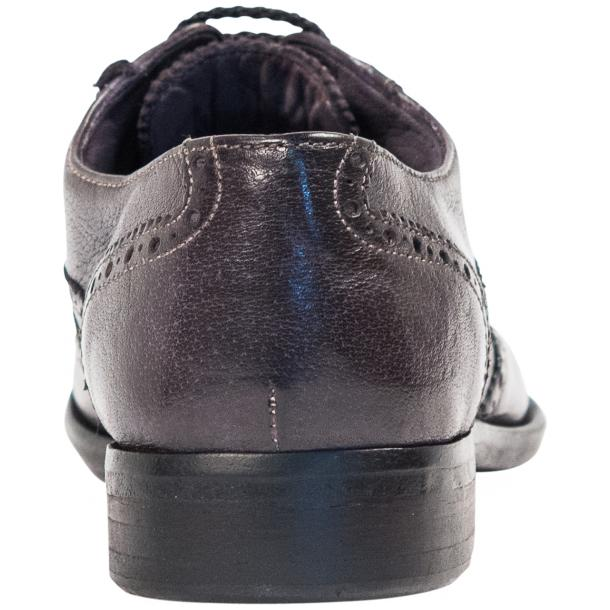 Ashley Dip Dyed Stone Grey Leather Oxford Lace Up Wing Tips thumb #5