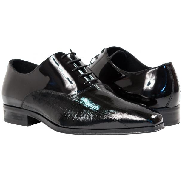 Devin Black Eel Skin Patent Leather Lace-Up Dress Shoes thumb #1