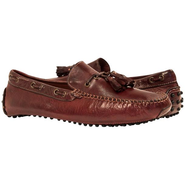 Blake Oxblood Dip Dyed Rubber Pebble Drivers Loafers  full-size #1