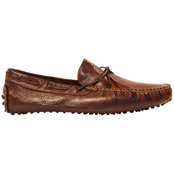 Adam Dip Dyed Brick Brown Nappa Leather Drivers thumb #4