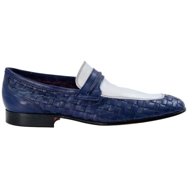 Woven Leather Loafers Nautical Blue White Paolo Shoes
