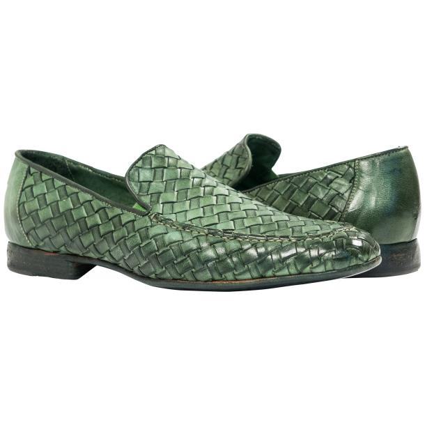 Caesar Dip Dyed Green Nappa Leather Hand Woven Slip Ons  full-size #1