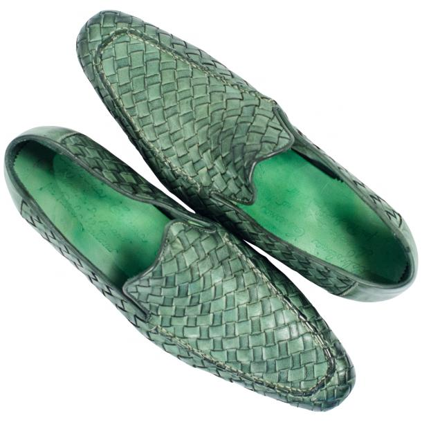 Jerome Dip Dyed Green Nappa Leather Hand Woven Slip Ons  thumb #2