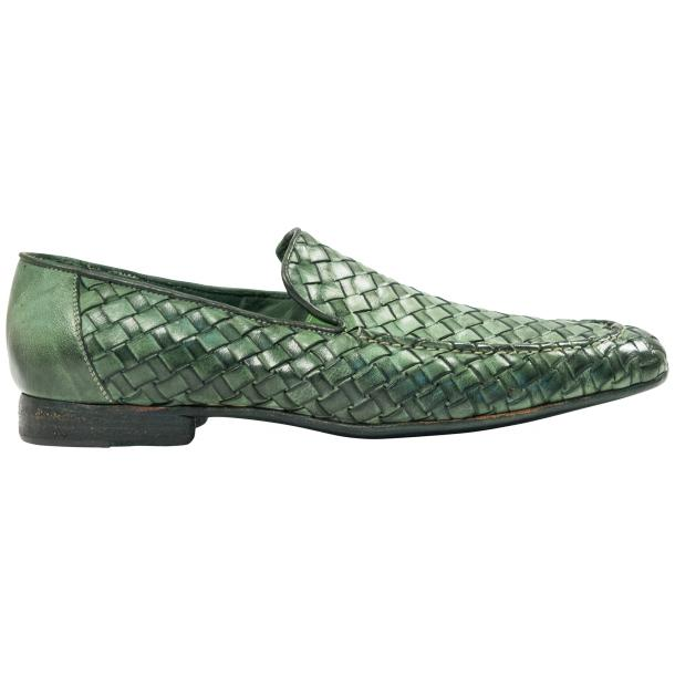 Jerome Dip Dyed Green Nappa Leather Hand Woven Slip Ons  thumb #4