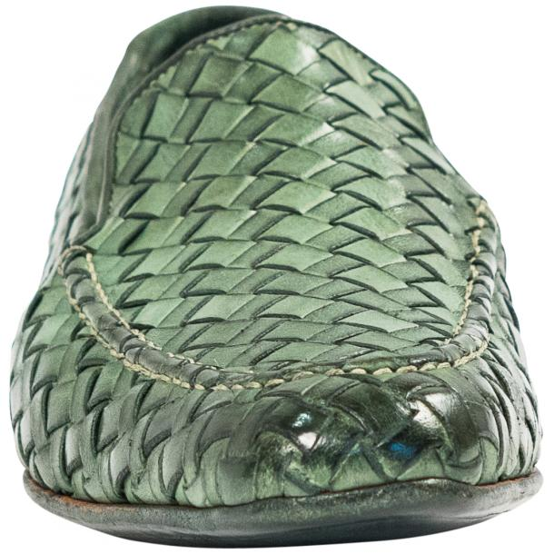Caesar Dip Dyed Green Nappa Leather Hand Woven Slip Ons  thumb #3