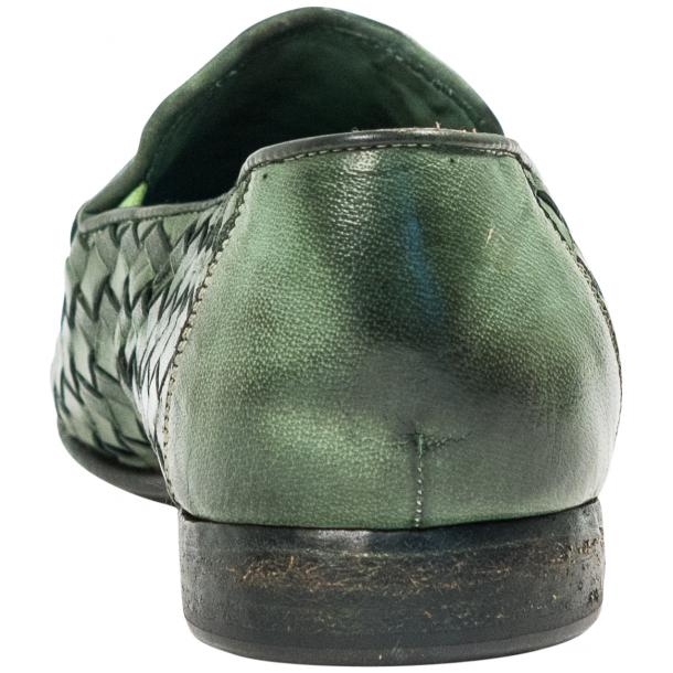 Jerome Dip Dyed Green Nappa Leather Hand Woven Slip Ons  thumb #5