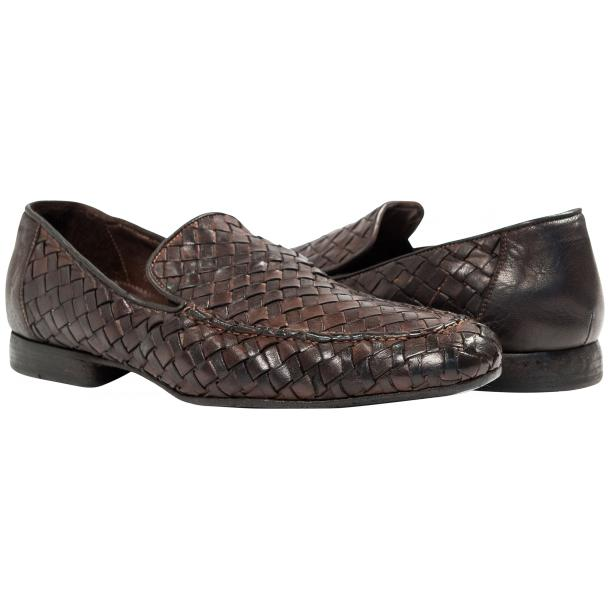 Jerome Dip Dyed Brown Nappa Leather Hand Woven Slip Ons  thumb #1