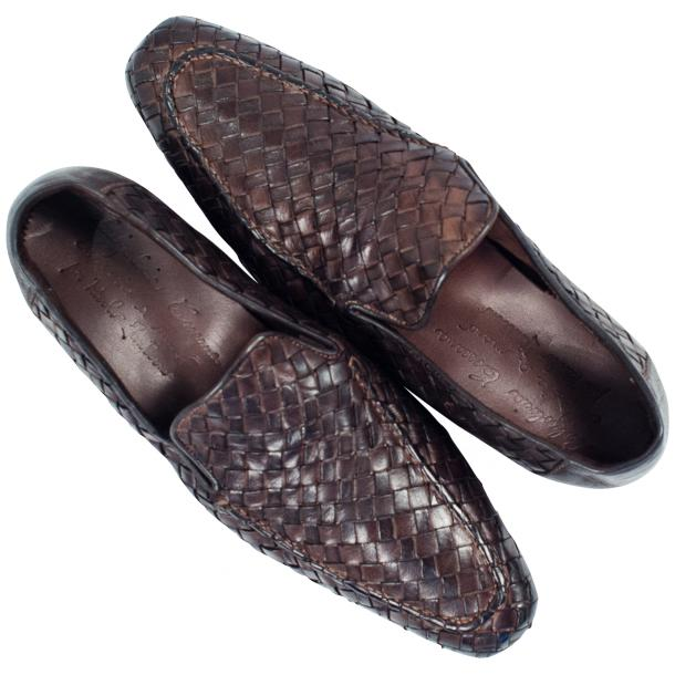 Caesar Dip Dyed Brown Nappa Leather Hand Woven Slip Ons  thumb #2