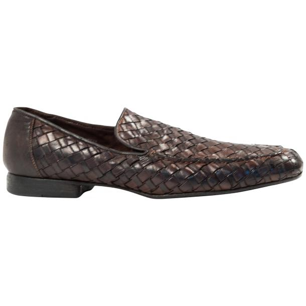 Jerome Dip Dyed Brown Nappa Leather Hand Woven Slip Ons  thumb #4