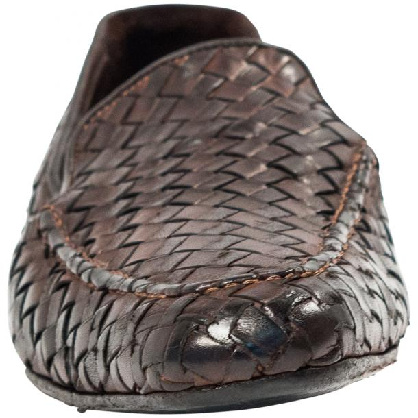 Jerome Dip Dyed Brown Nappa Leather Hand Woven Slip Ons  thumb #3