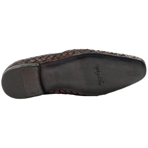 Caesar Dip Dyed Brown Nappa Leather Hand Woven Slip Ons  thumb #6
