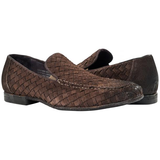 Jerome Dip Dyed Brown Suede Hand Woven Slip Ons  full-size #1