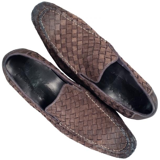 Jerome Dip Dyed Brown Suede Hand Woven Slip Ons  full-size #2