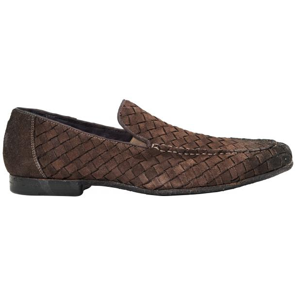 Jerome Dip Dyed Brown Suede Hand Woven Slip Ons  full-size #4
