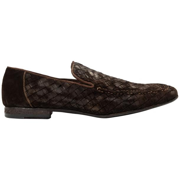 Caesar Dip Dyed Chocolate Suede Hand Woven Slip Ons  full-size #4