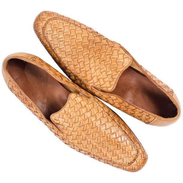 Caesar Dip Dyed Brick Nappa Leather Hand Woven Slip Ons  thumb #2