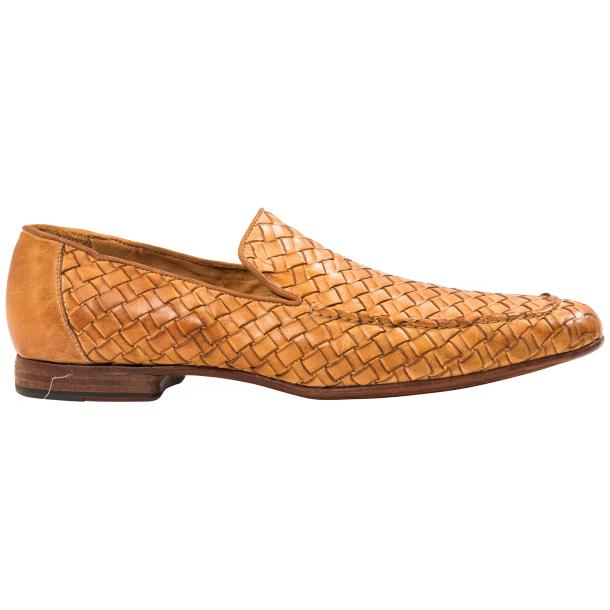 Caesar Dip Dyed Brick Nappa Leather Hand Woven Slip Ons  thumb #4